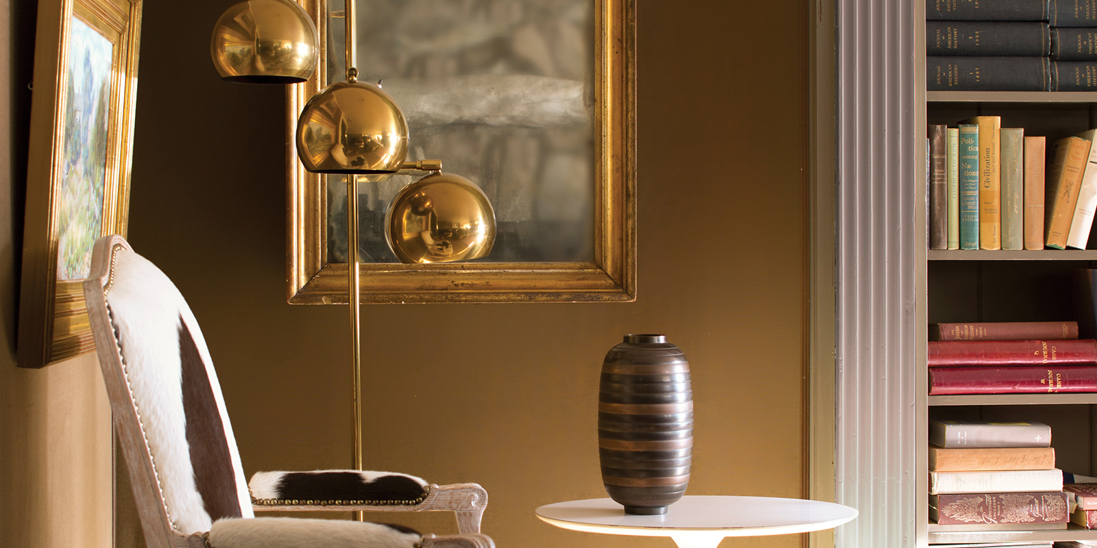 Chair Profile with Brass Lamp